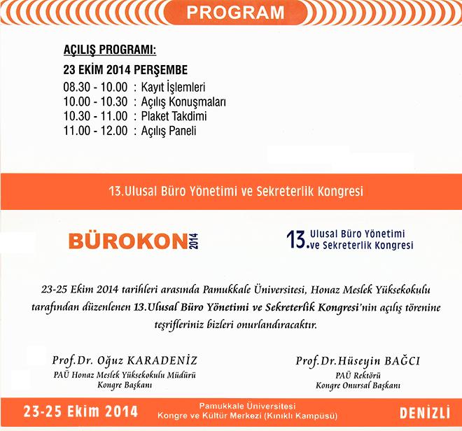 13 Ulusal Buro Yonetimi Ve Sekreterlik Kongresi